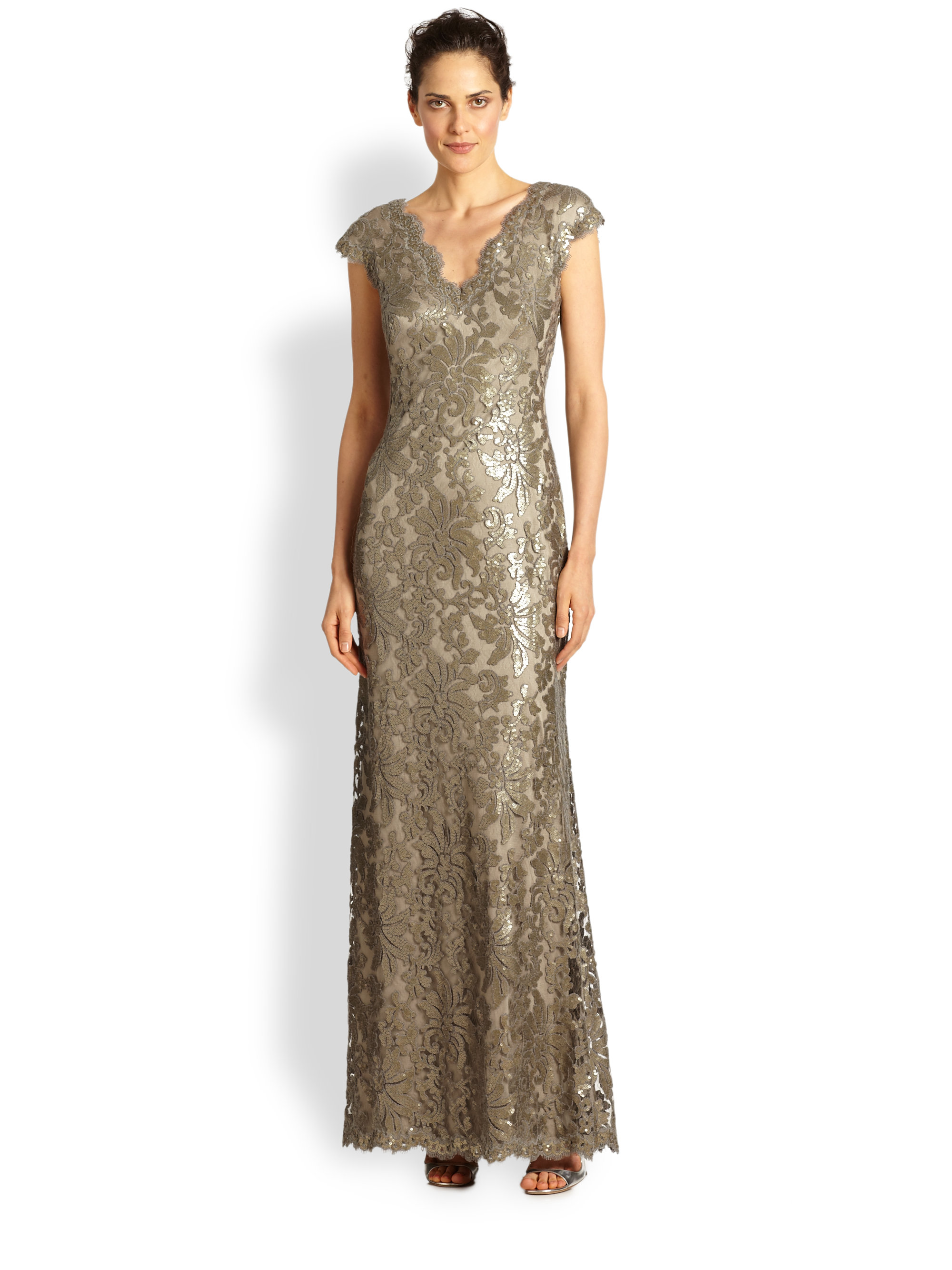 Tadashi Shoji Sequin Lace Gown ( Size 14P) | eBay