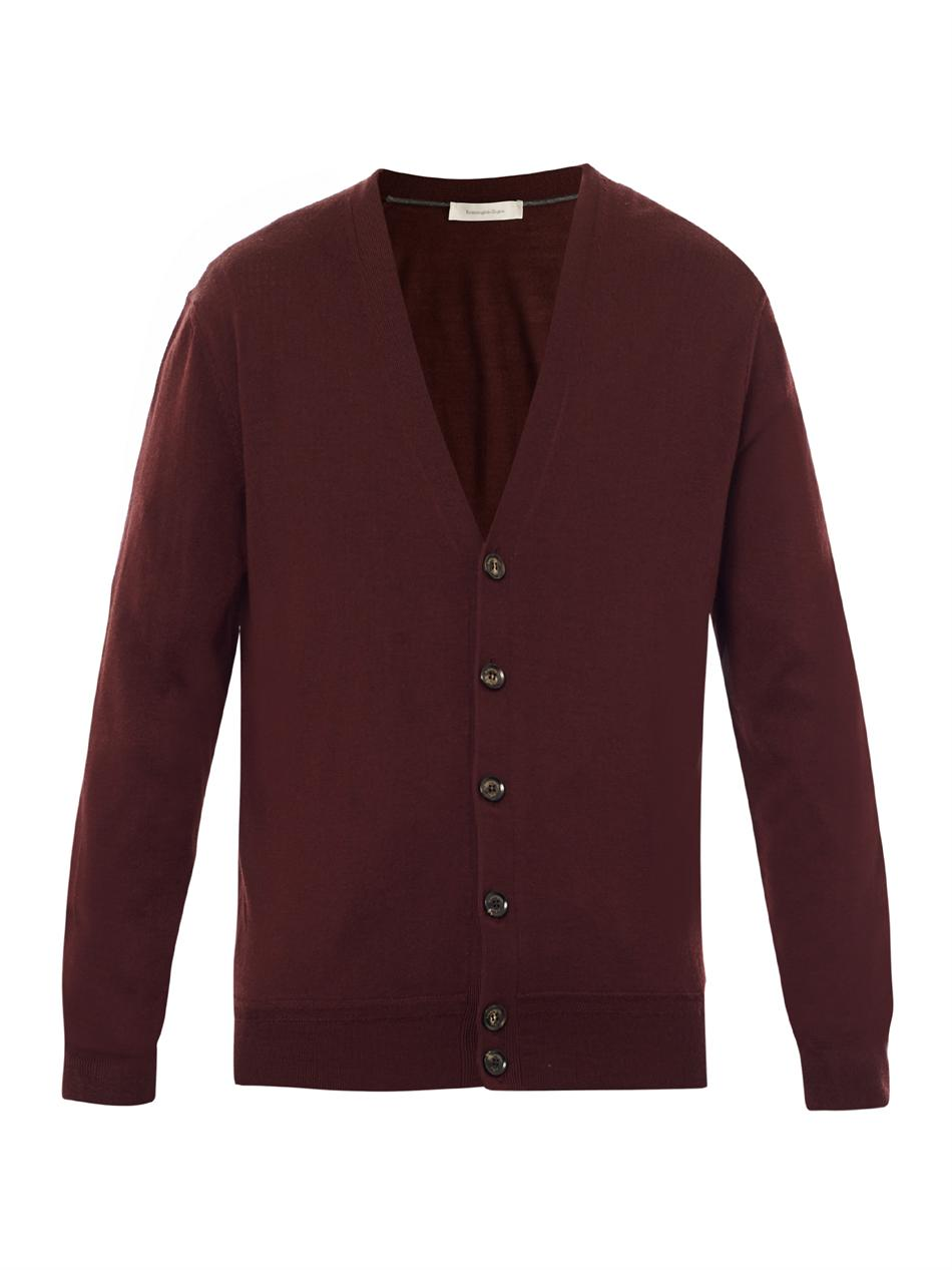 Ermenegildo zegna Wool Cashmere Cardigan in Red for Men | Lyst