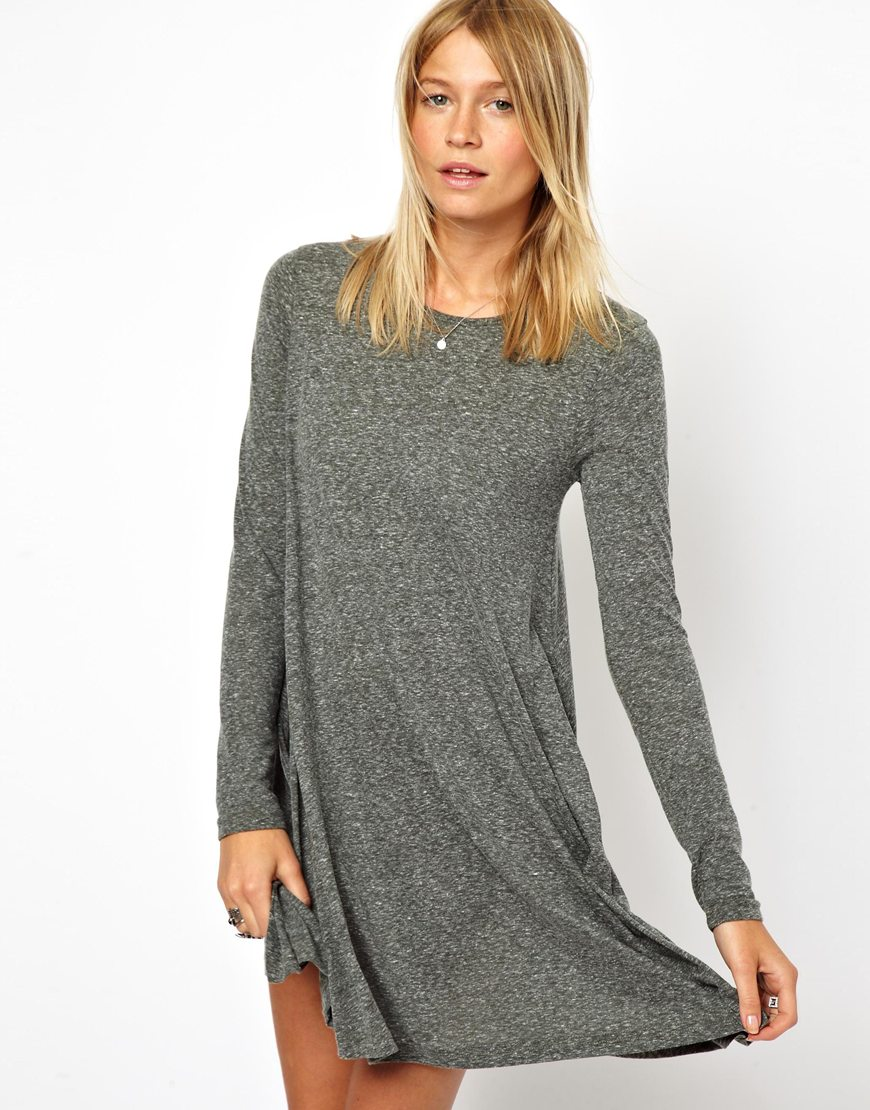 lyst asos swing dress in nepi with long sleeves in gray. Black Bedroom Furniture Sets. Home Design Ideas