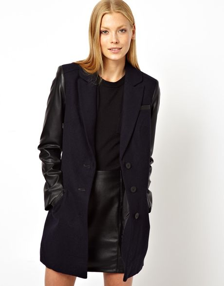 French Connection Coat With Contrast Sleeve Zip Detail In
