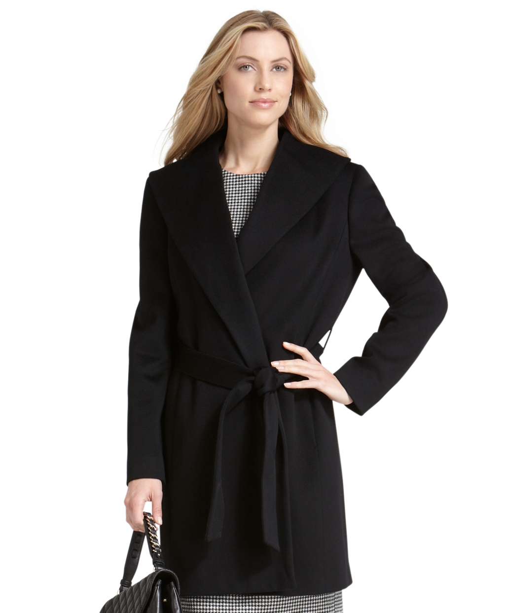 Brooks brothers Petite Wool Wrap Belted Coat in Black | Lyst