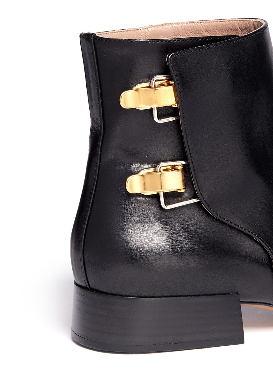 Chloé Buckled Leather Boots in Black
