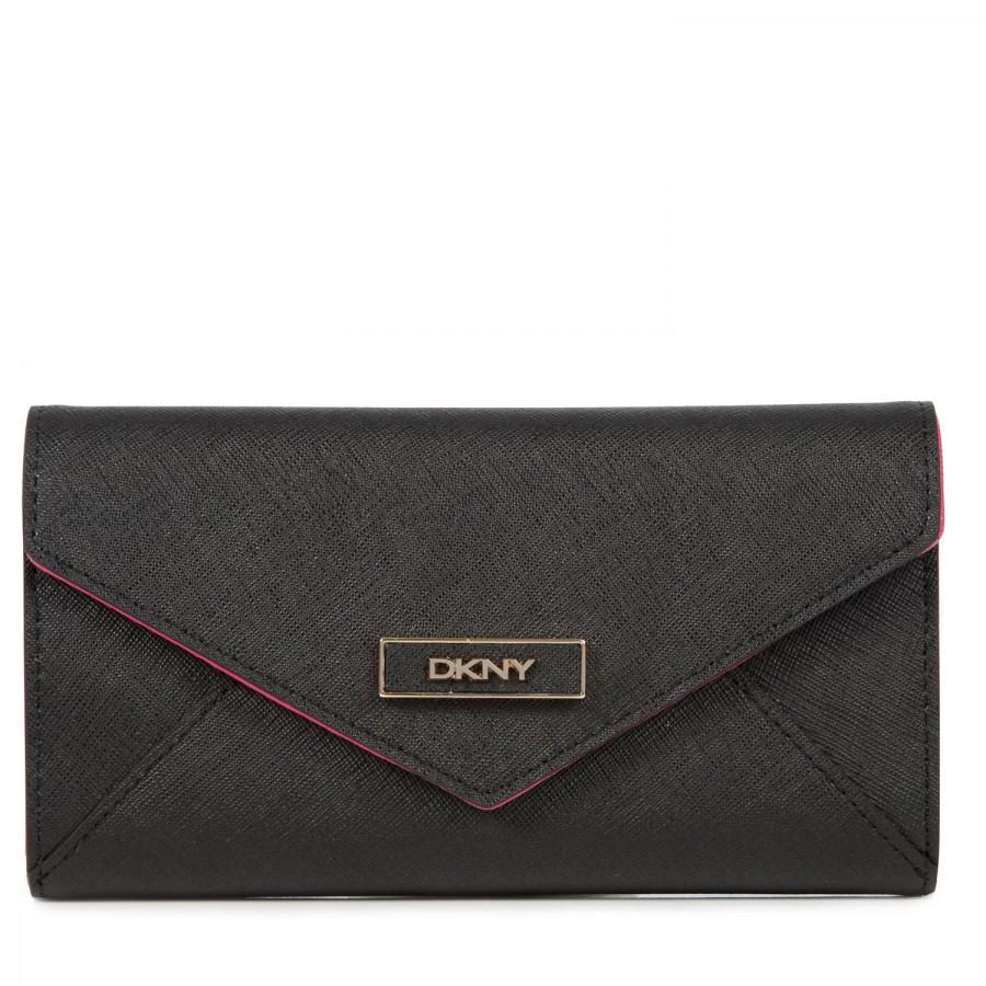 DKNY Leather Zip Around Wallet in Black - Lyst |Dkny Wallet