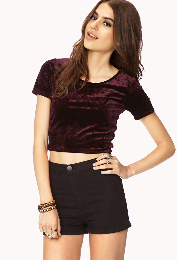 f80d08b1df9682 Lyst - Forever 21 Enchanted Velveteen Crop Top in Red