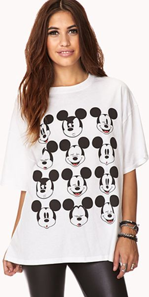 21 Mickey Mouse Nail Art Designs Ideas: Forever 21 Fun Mickey Mouse Tee In Black (WHITE/BLACK)