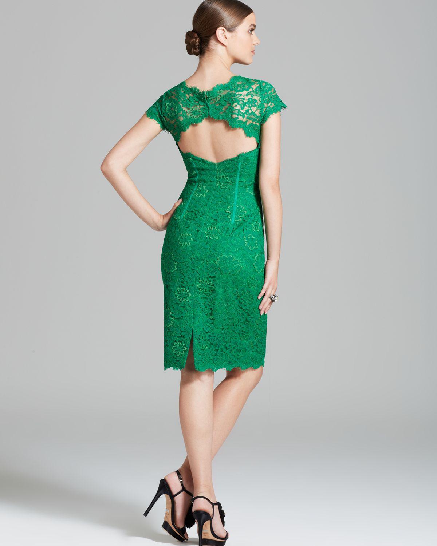 Ml monique lhuillier Lace Dress Cap Sleeve Sheath in Green | Lyst