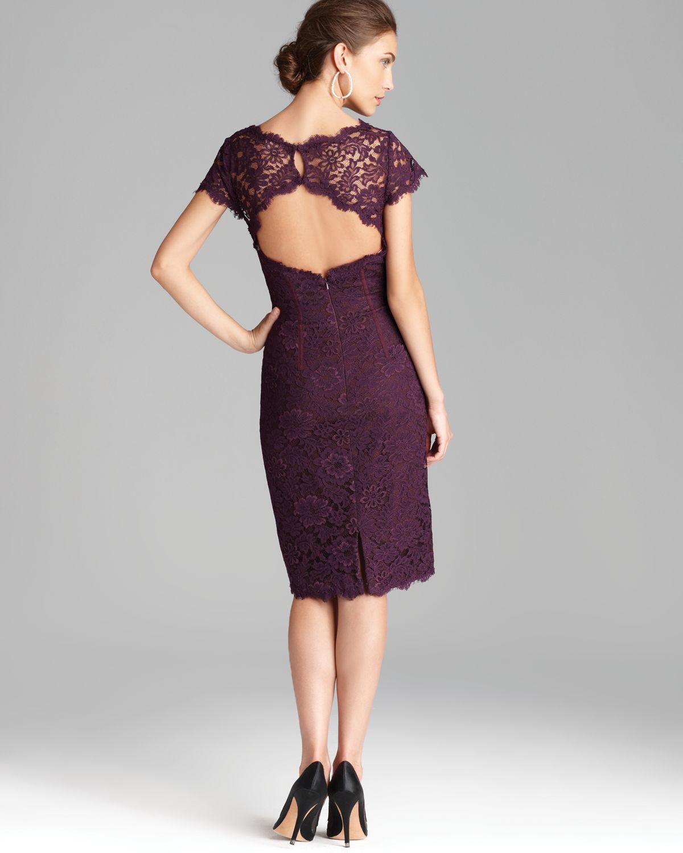 Ml monique lhuillier Lace Dress Cap Sleeve in Purple | Lyst
