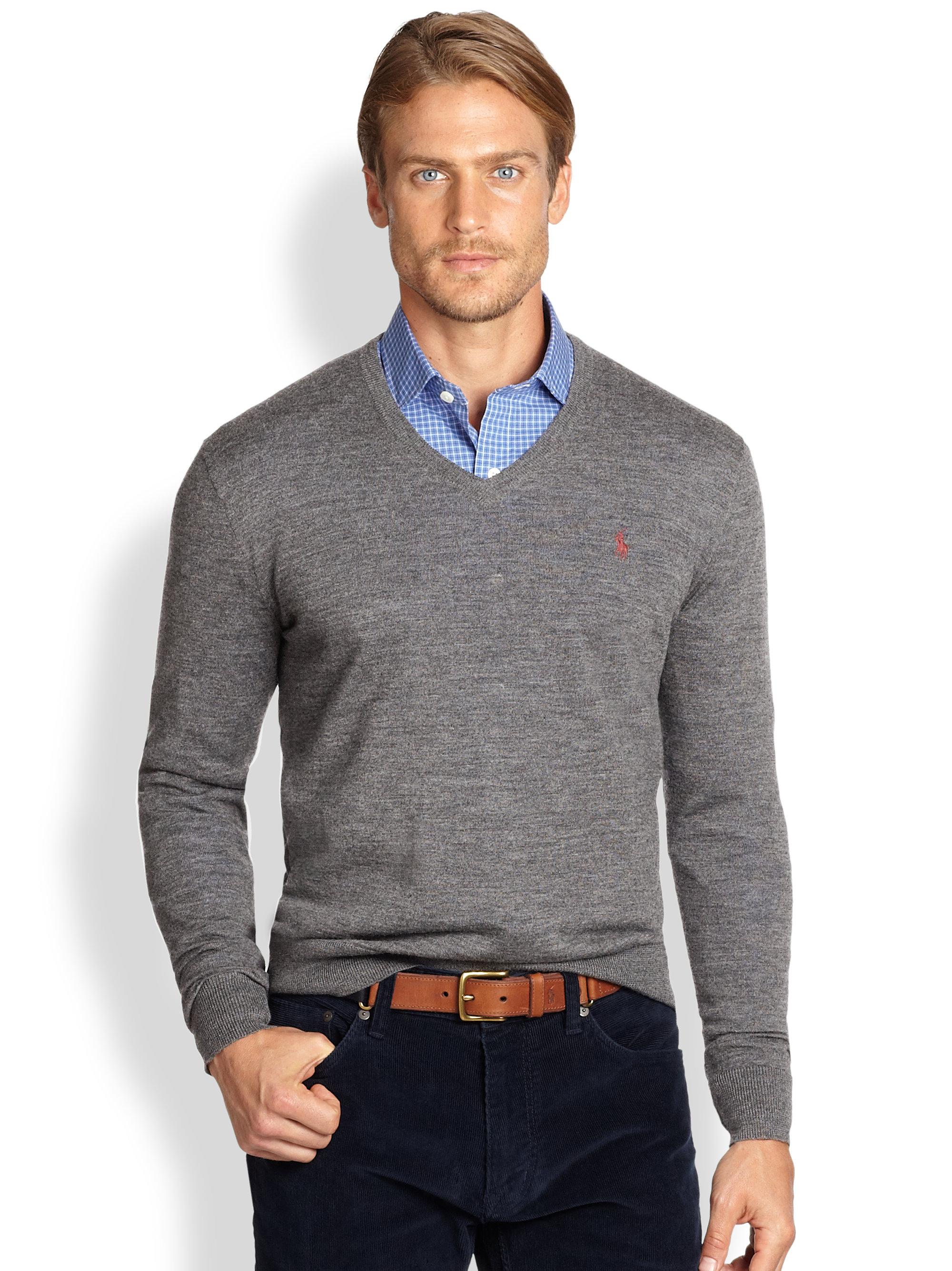 3525782c Polo Ralph Lauren Gray Merino Wool Vneck Sweater for men