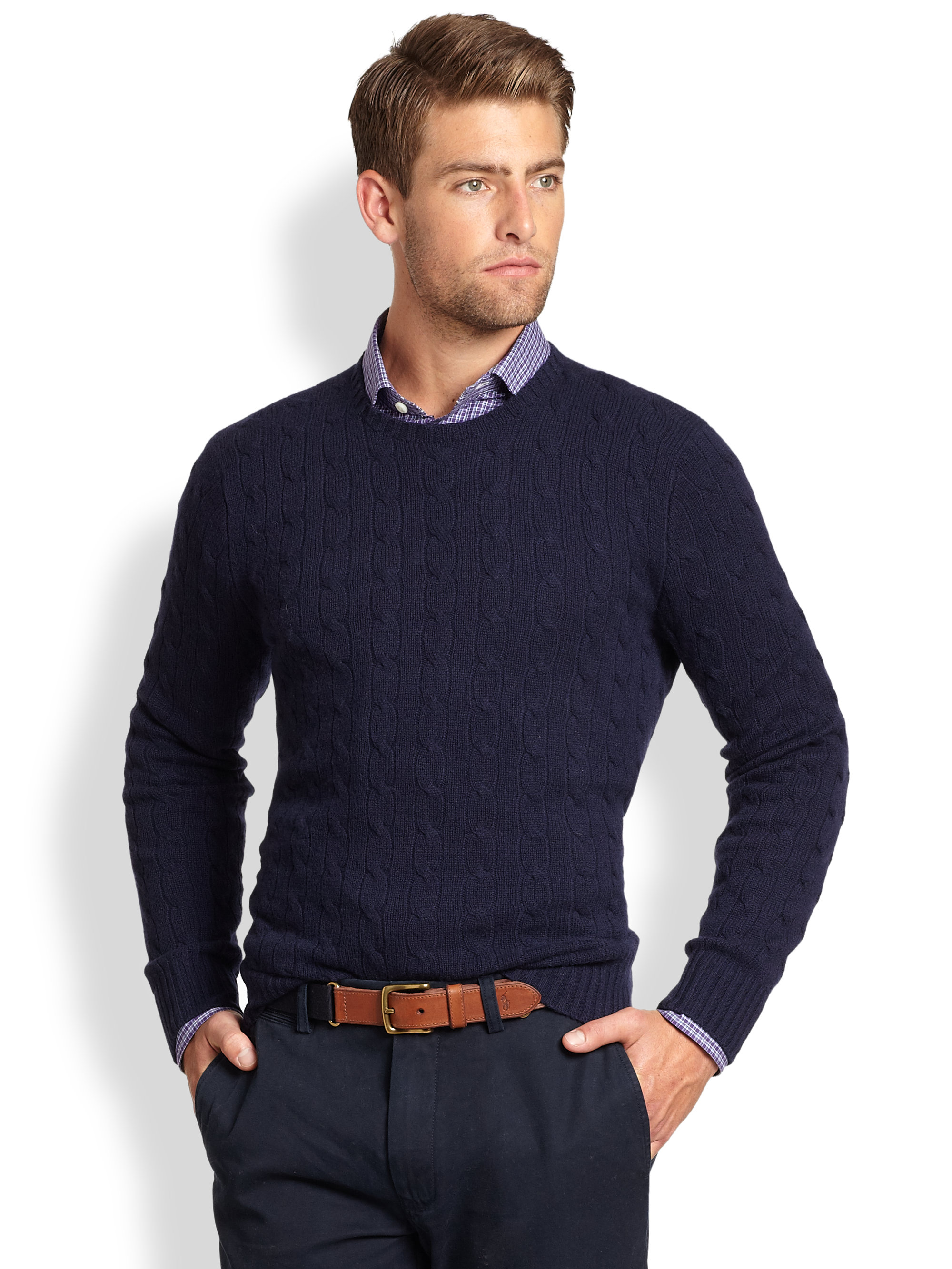polo ralph lauren cable knit cashmere crewneck sweater in blue for men lyst. Black Bedroom Furniture Sets. Home Design Ideas