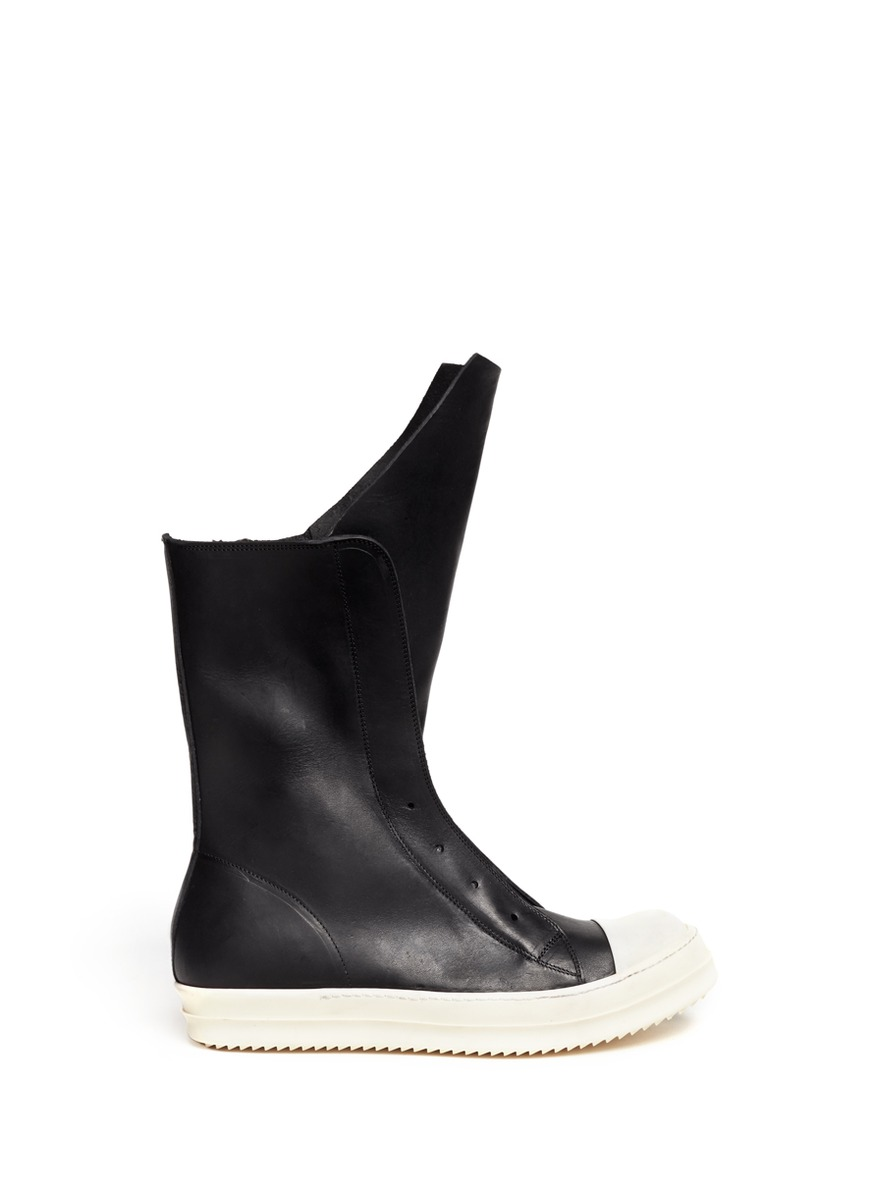 rick owens ramones leather sneaker boots in black lyst