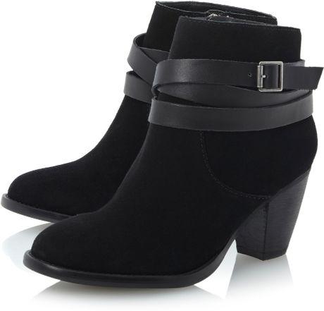 Steve Madden Morrgan Buckle Strap Ankle Boots In Black