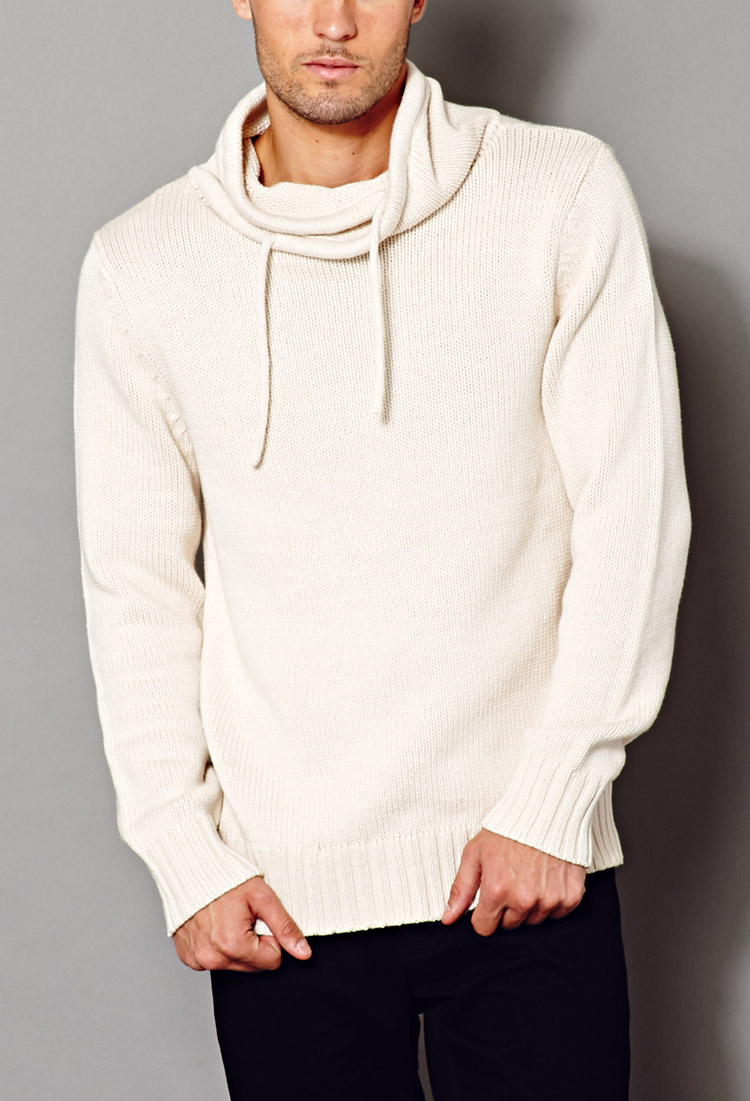 Forever 21 Crisp Cowl Neck Sweater in Natural for Men | Lyst