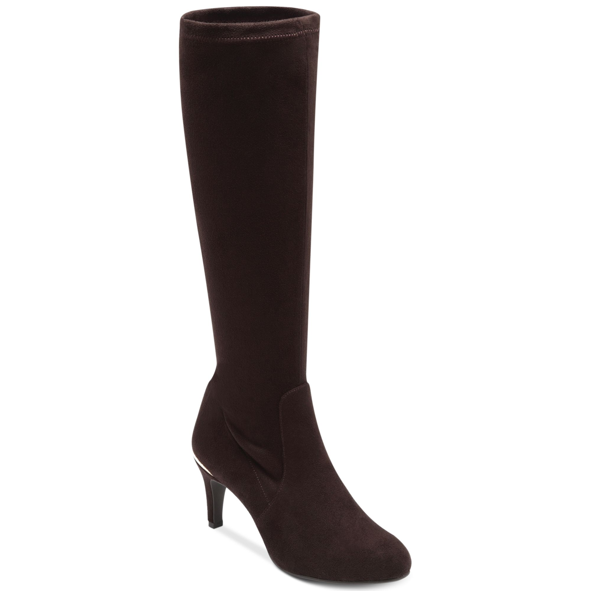 bcbgeneration raymona shaft boots in brown oak suede