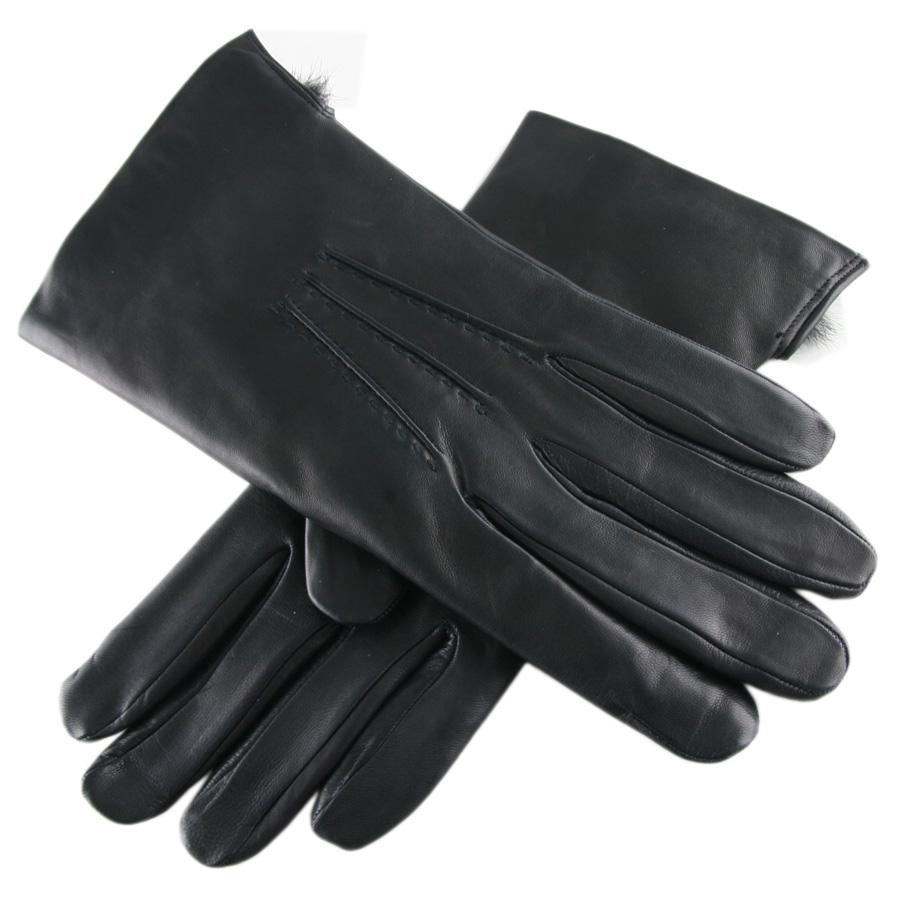 Black gloves mens - Black Co Uk Leather Gloves With Rabbit Lining In For