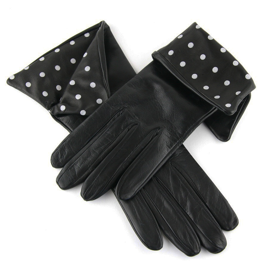 Isotoner womens leather gloves with fleece lining -  Black Co Uk Las Leather Musketeer Gloves With Polka Dot Women S Wool Lined