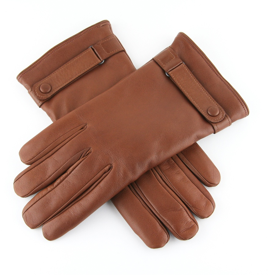 90cd23a71 Black.co.uk Brown Tobacco Leather Gloves with Strap and Button Detail  Cashmere Lined for men