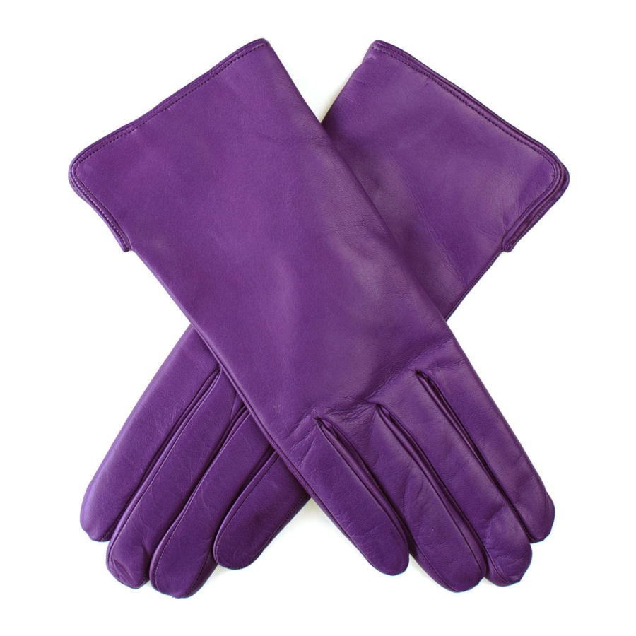 Black Co Uk Violet Leather Gloves With Cashmere Lining In