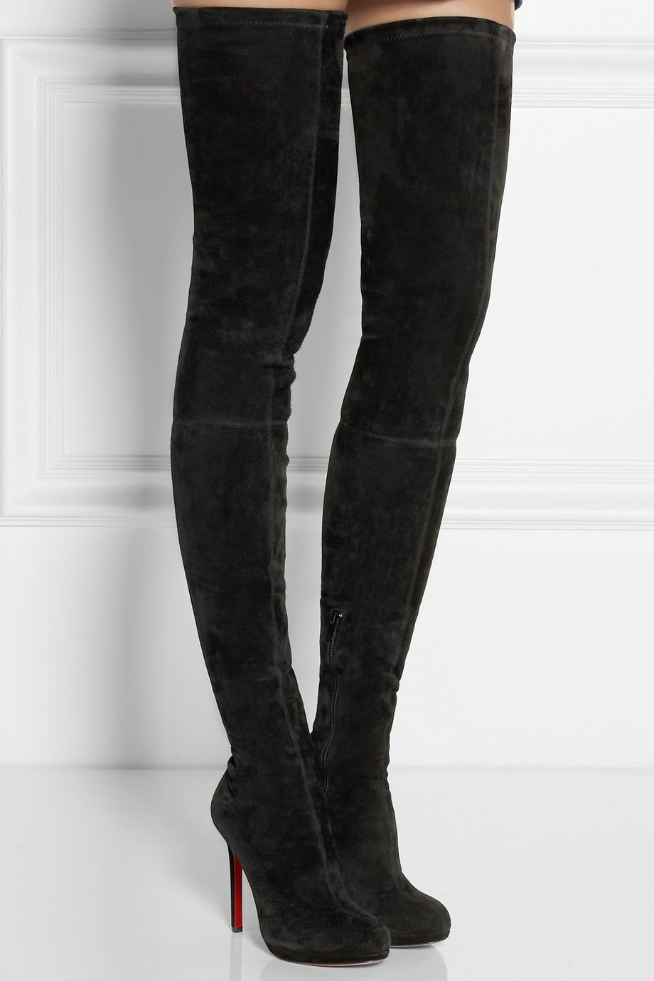 competitive price 0b00b 83438 Christian Louboutin Black Louise Xi 120 Stretch-Suede Over-The-Knee Boots