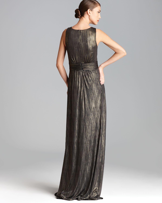 David Meister Gold Metallic Evening Gowns