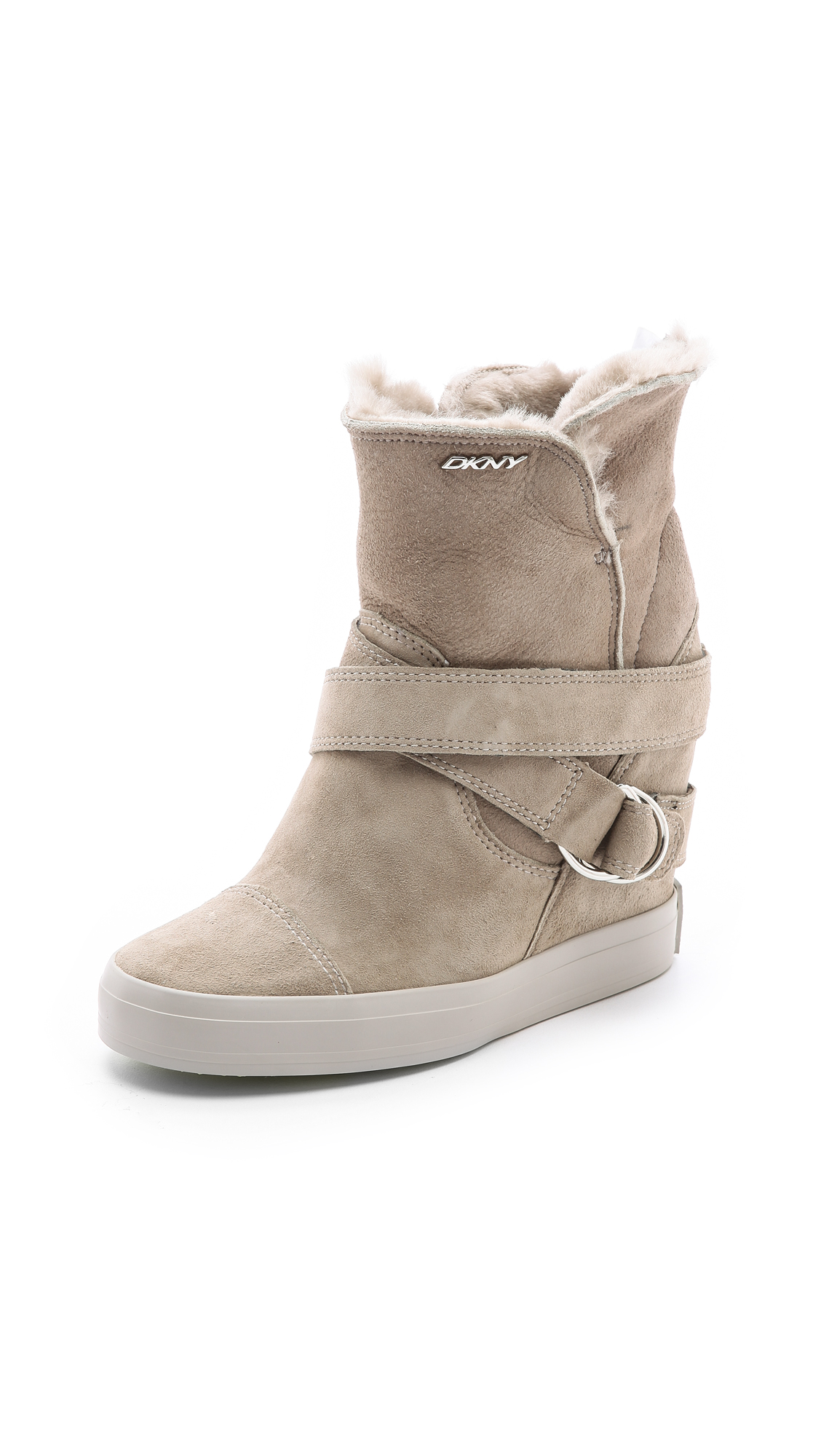 Dkny Great Shearling Sneaker Booties In Natural Lyst