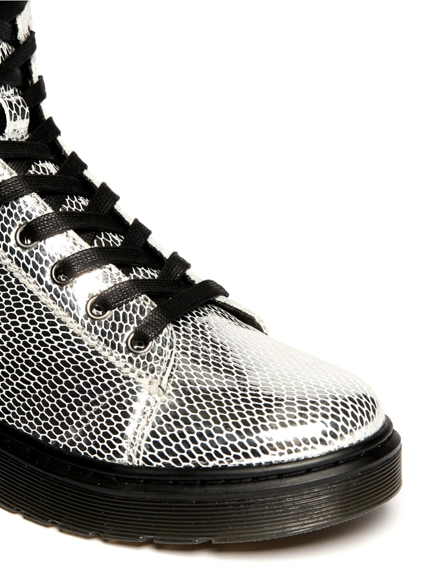 Lyst Dr Martens Metallic Snake Print Leather Boots In