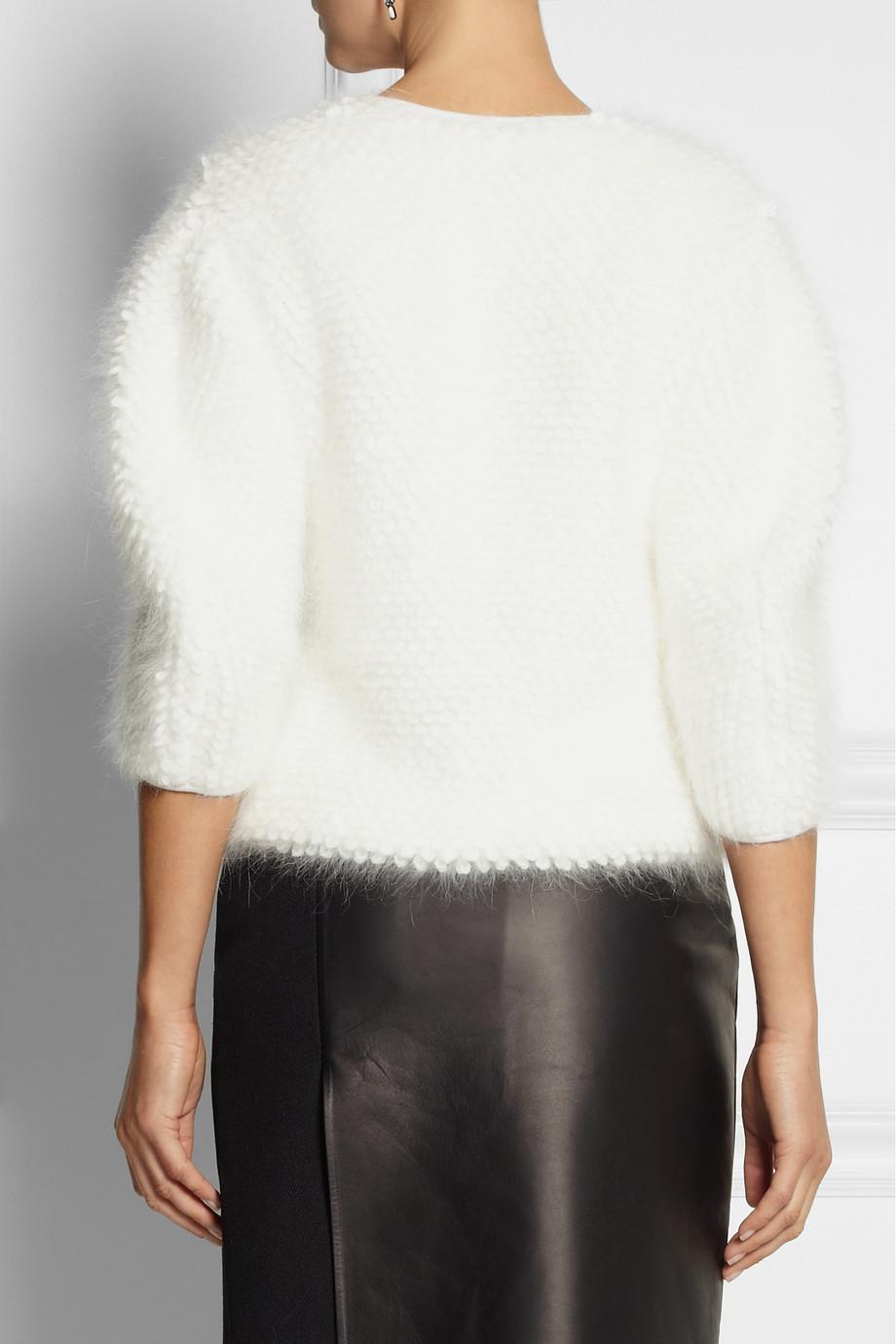 Fendi Angora And Wool Blend Sweater In White Lyst