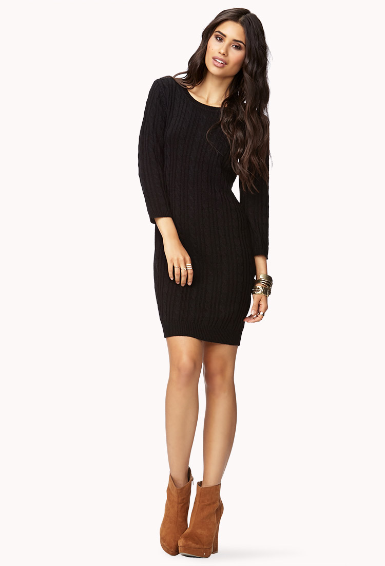 Forever 21 Contemporary Essential Cable Sweater Dress in Black | Lyst
