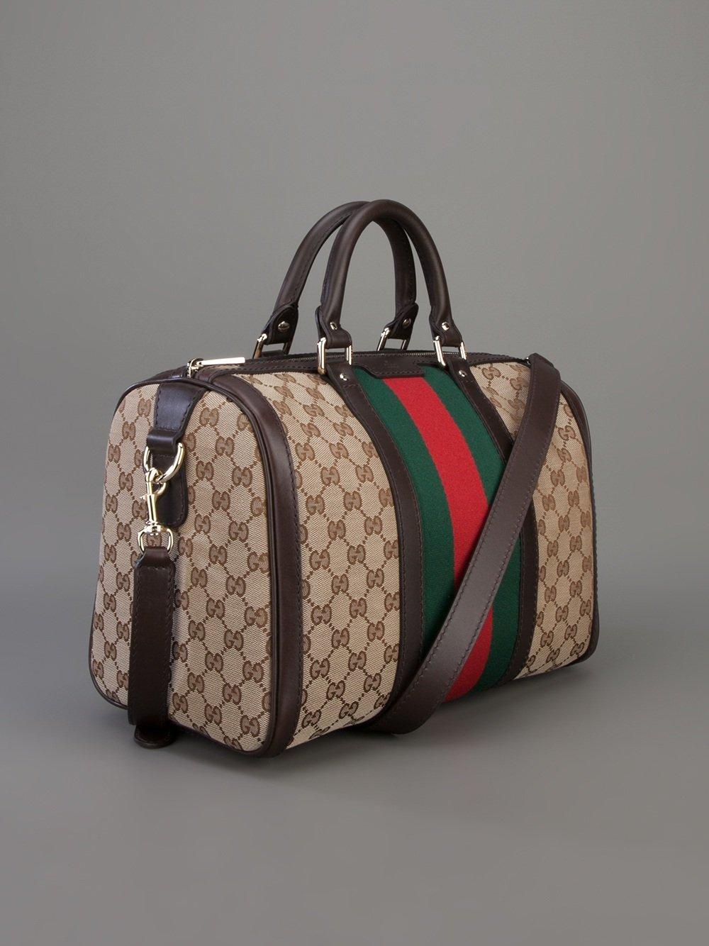 Boston Bag Patchwork Tutorial: Gucci Vintage Web Boston Bag In Brown