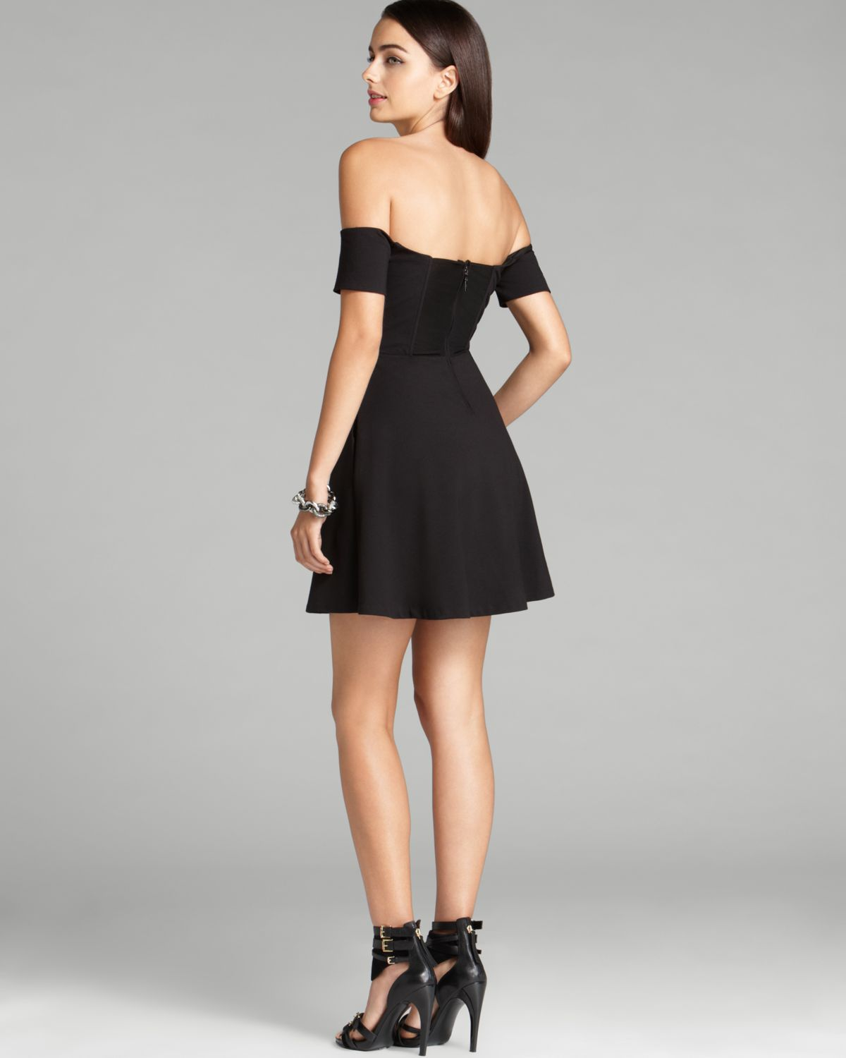 Lyst Guess Dress Off Shoulder Fit And Flare In Black