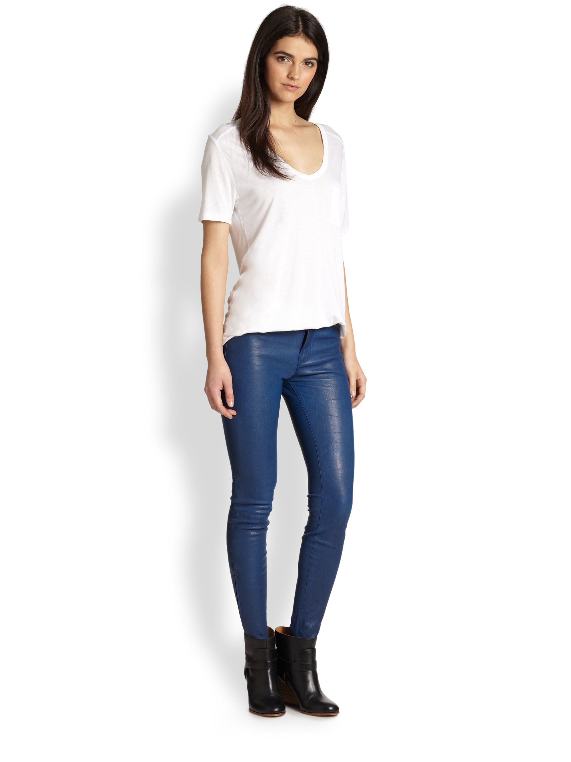 J Brand Leather Skinny Pants In Blue Lyst