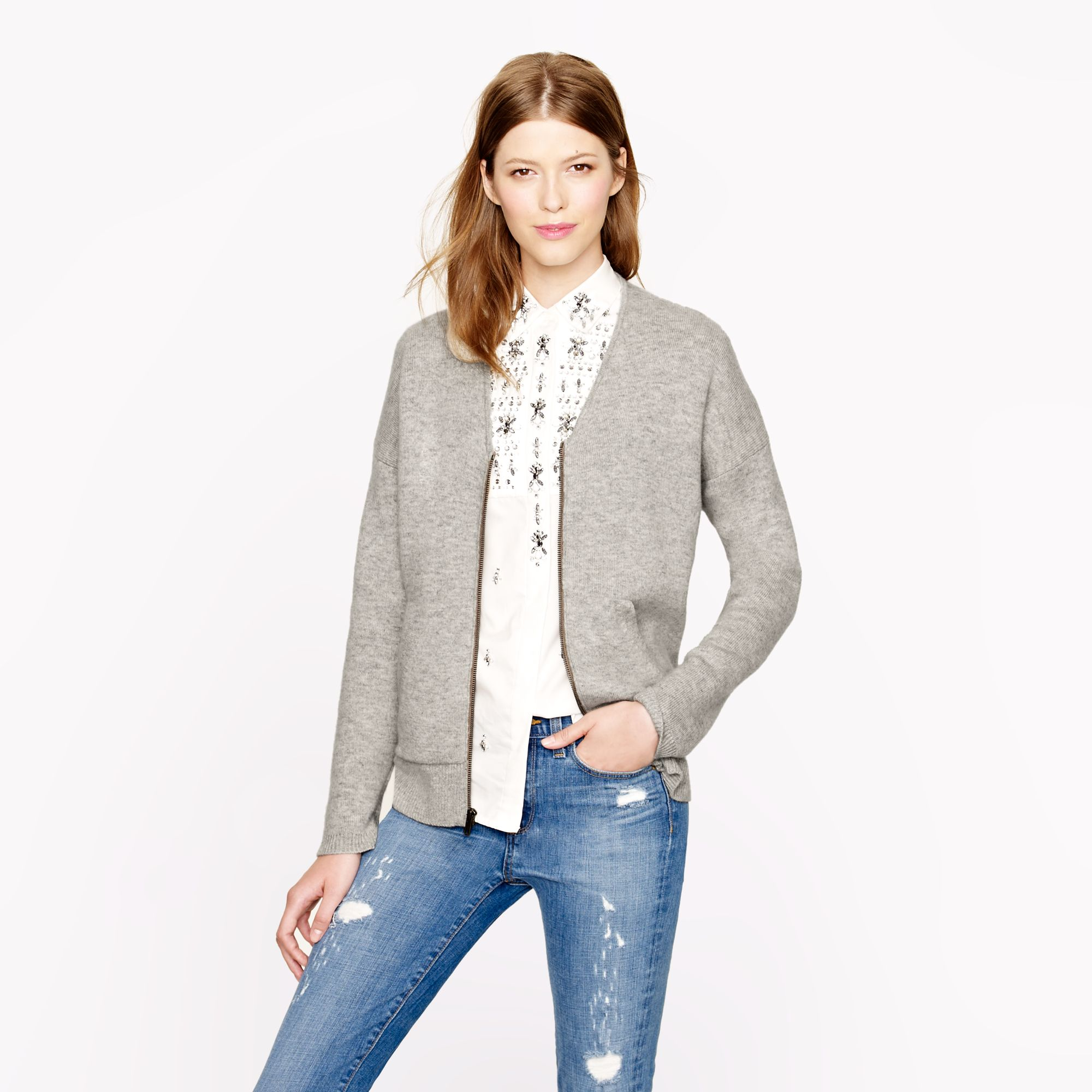 Jcrew Collection Bonded Cashmere Zip Sweater-Jacket In -9104