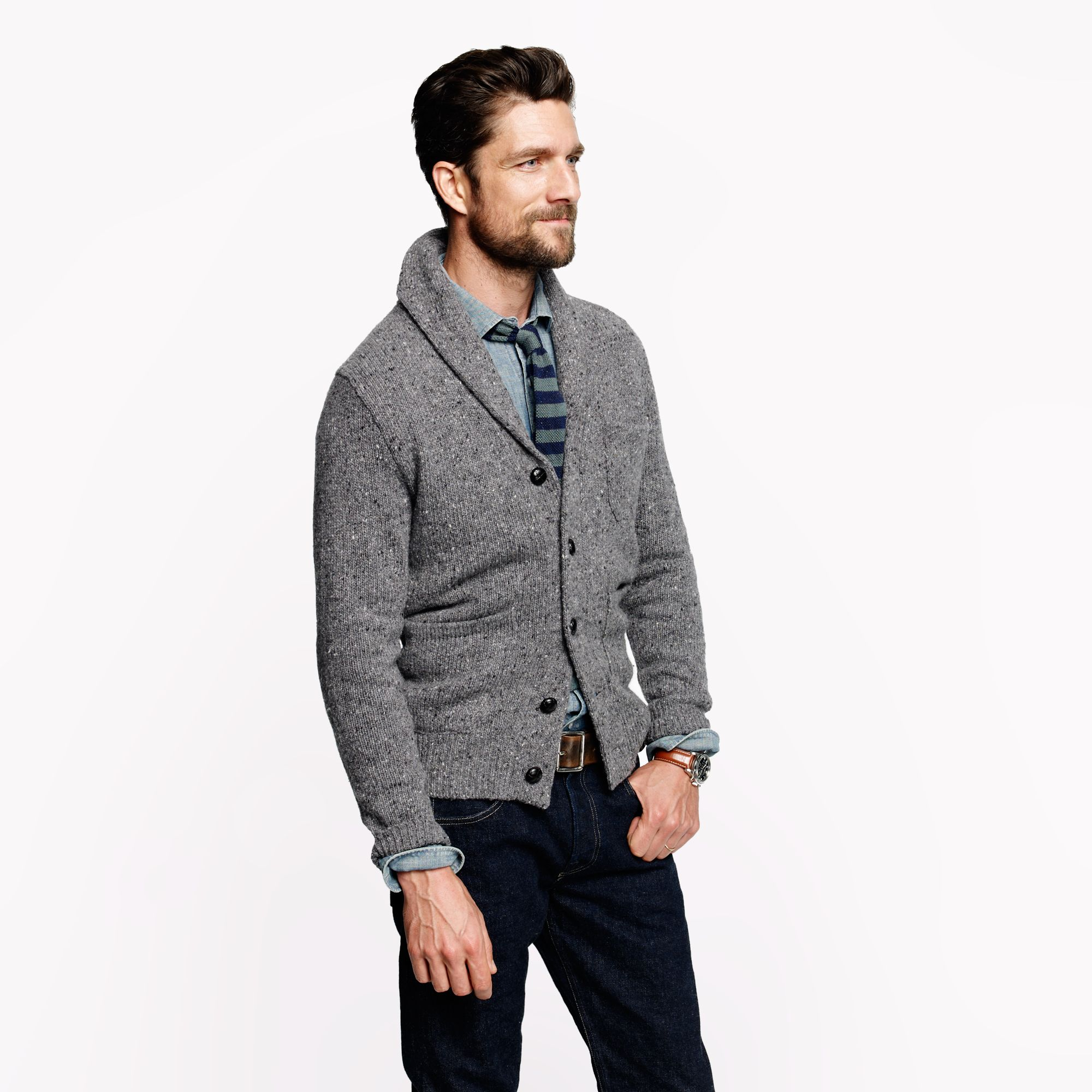 Lyst j crew donegal shawl cardigan in gray for men for Jcrew com