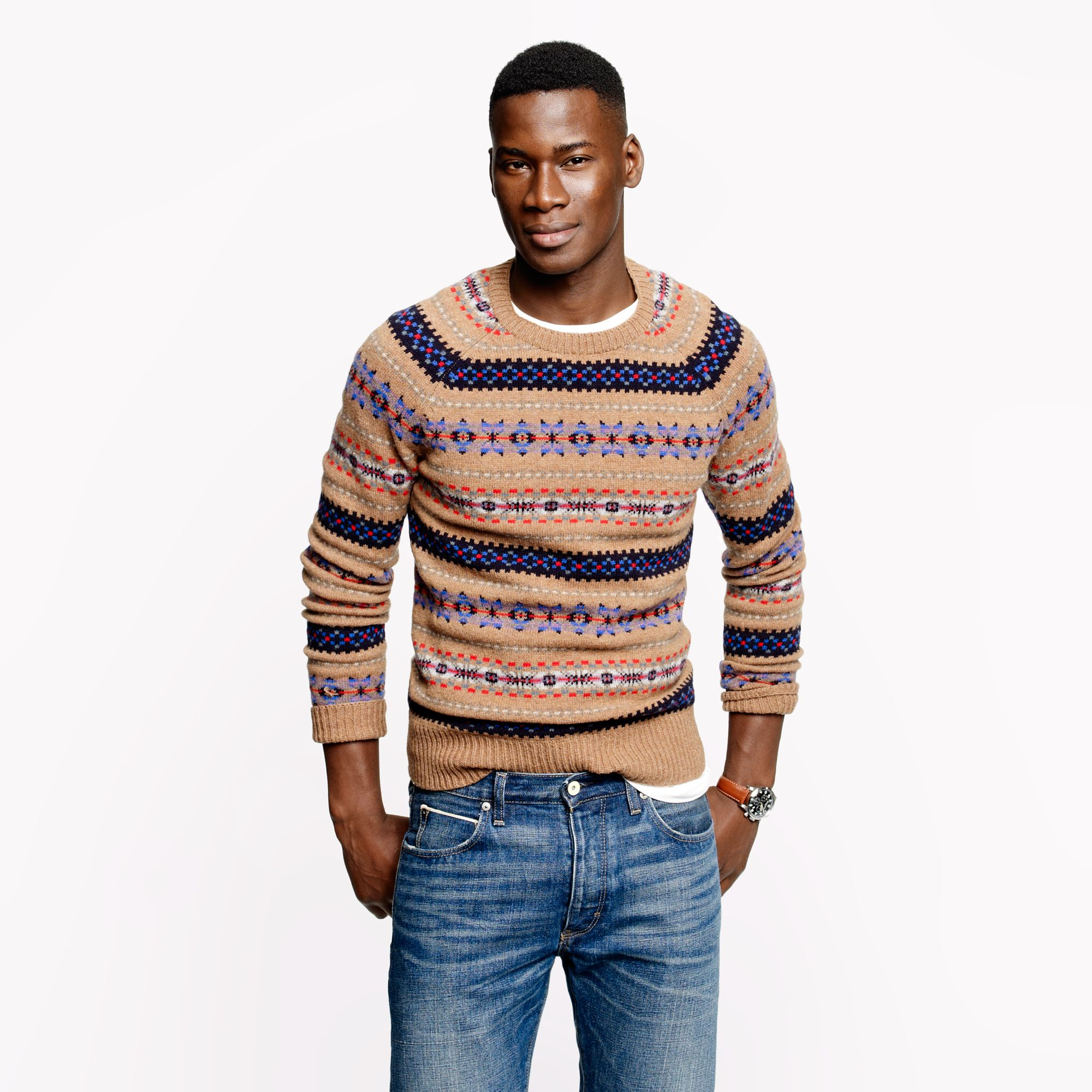 J.crew Alpine Fair Isle Sweater in Heather Brown for Men | Lyst