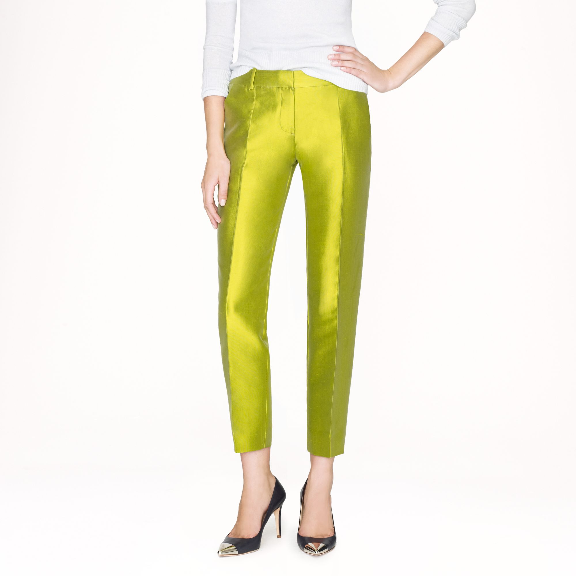J Crew Collection Caf 233 Capri In Pintucked Heavy Shantung