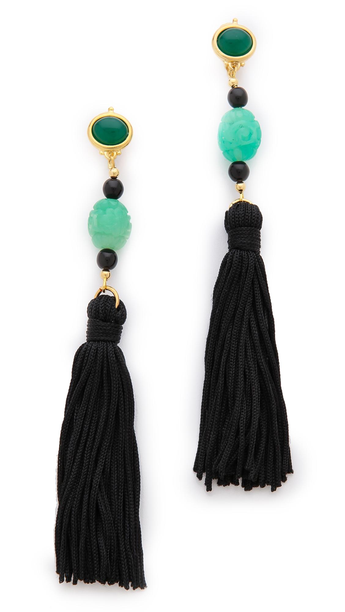 kenneth carved tassel earrings in green lyst