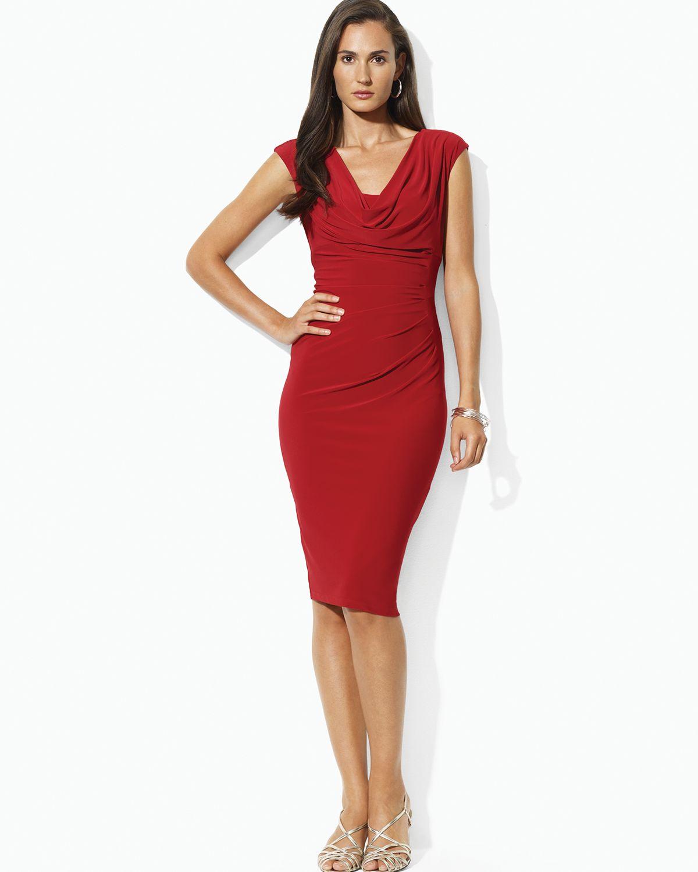5e9cf80aae7 Lauren by Ralph Lauren Cowlneck Cap Sleeve Dress in Red - Lyst