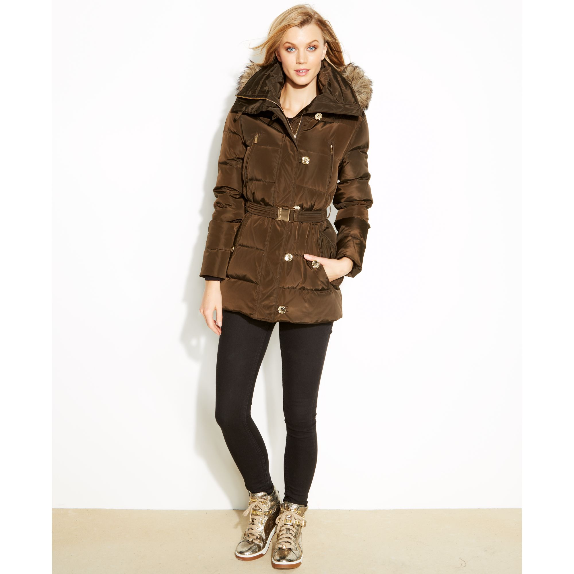 117466b05f25 Lyst - Michael Kors Hooded Fauxfurtrim Quilted Belted Puffer in Brown