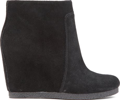 nine west blacklight suede wedge boots in black lyst