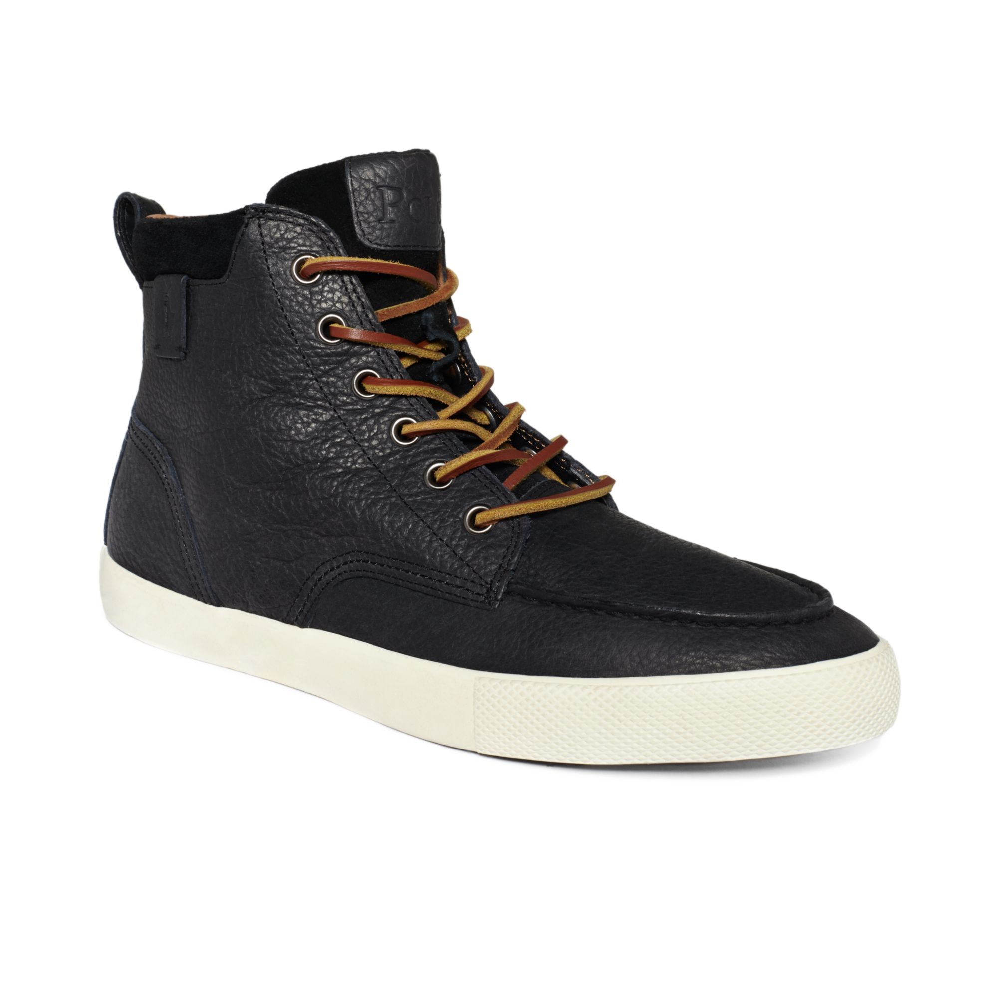 polo ralph lauren shoes tedd hi top sneakers in black for men lyst. Black Bedroom Furniture Sets. Home Design Ideas