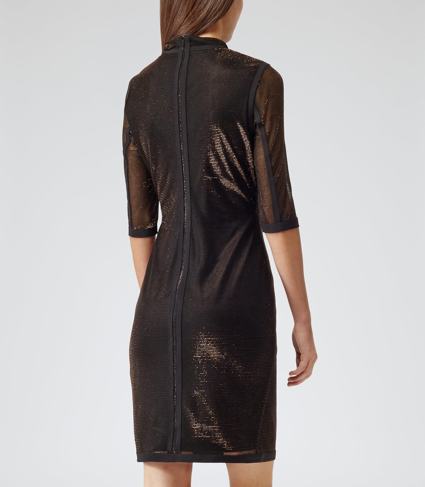 Reiss Kasia High Neck Bodycon Dress In Bronze Black Lyst