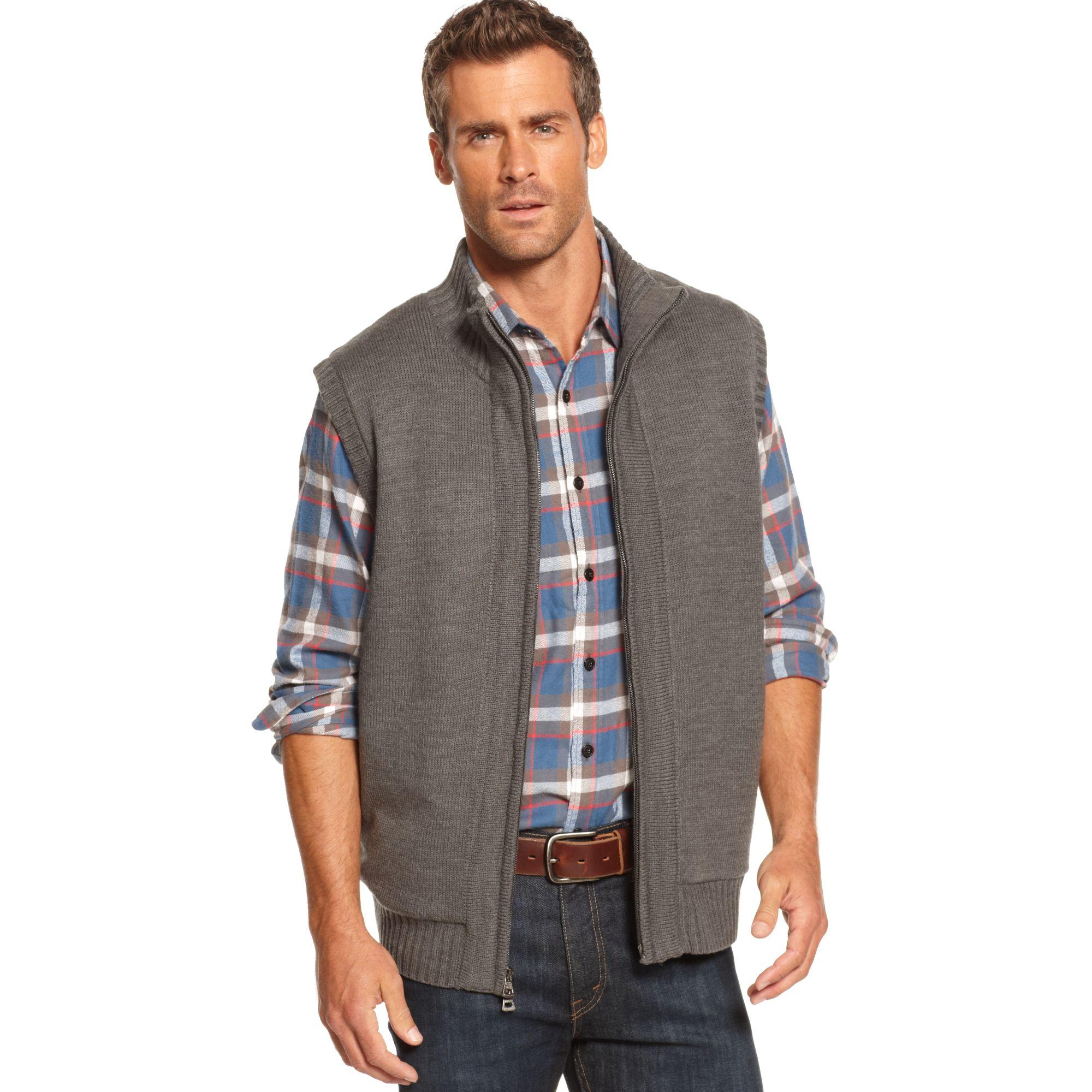 Zip Front Sweater Vest - Gray Cardigan Sweater