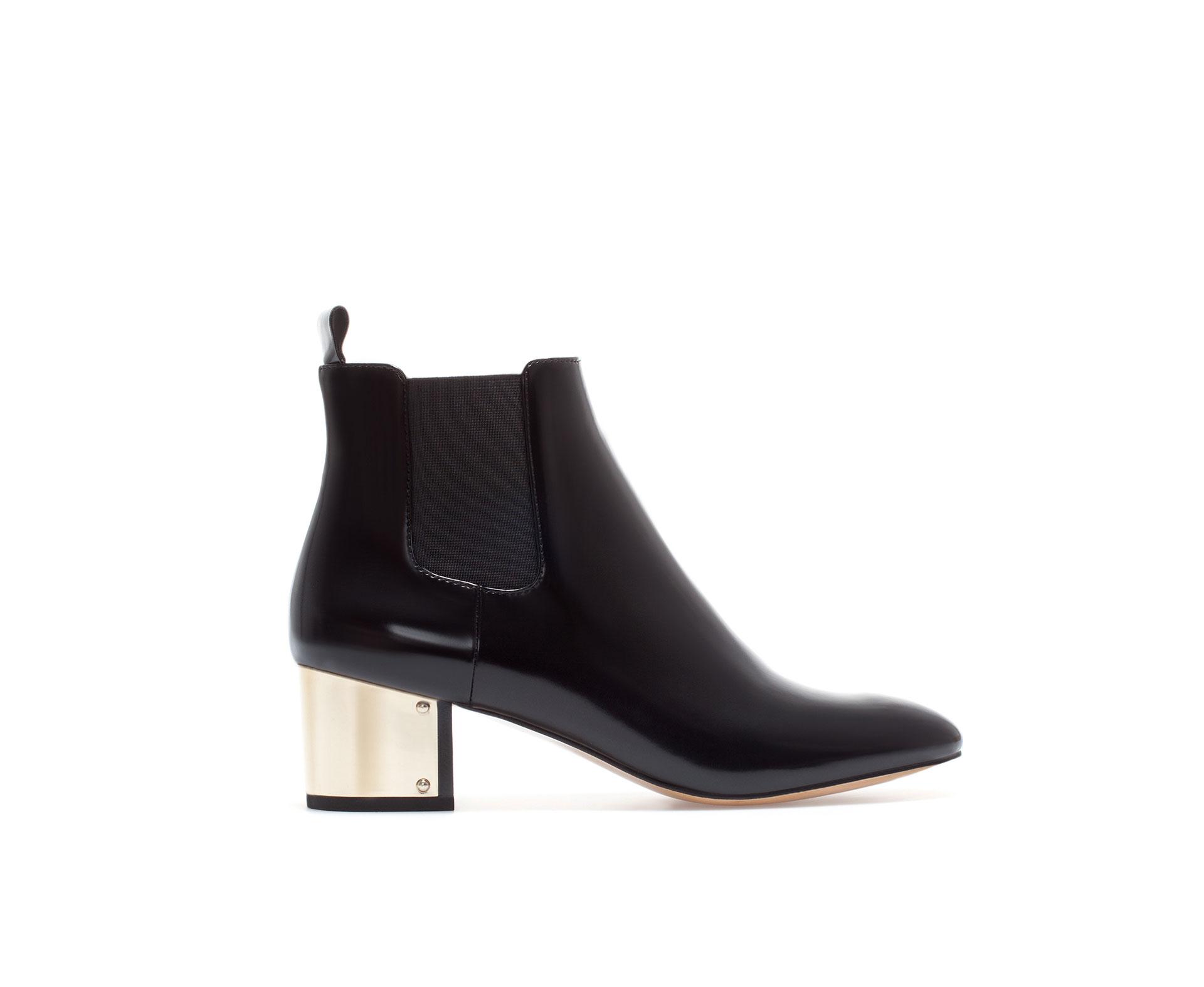 zara metal heel ankle boot in black lyst
