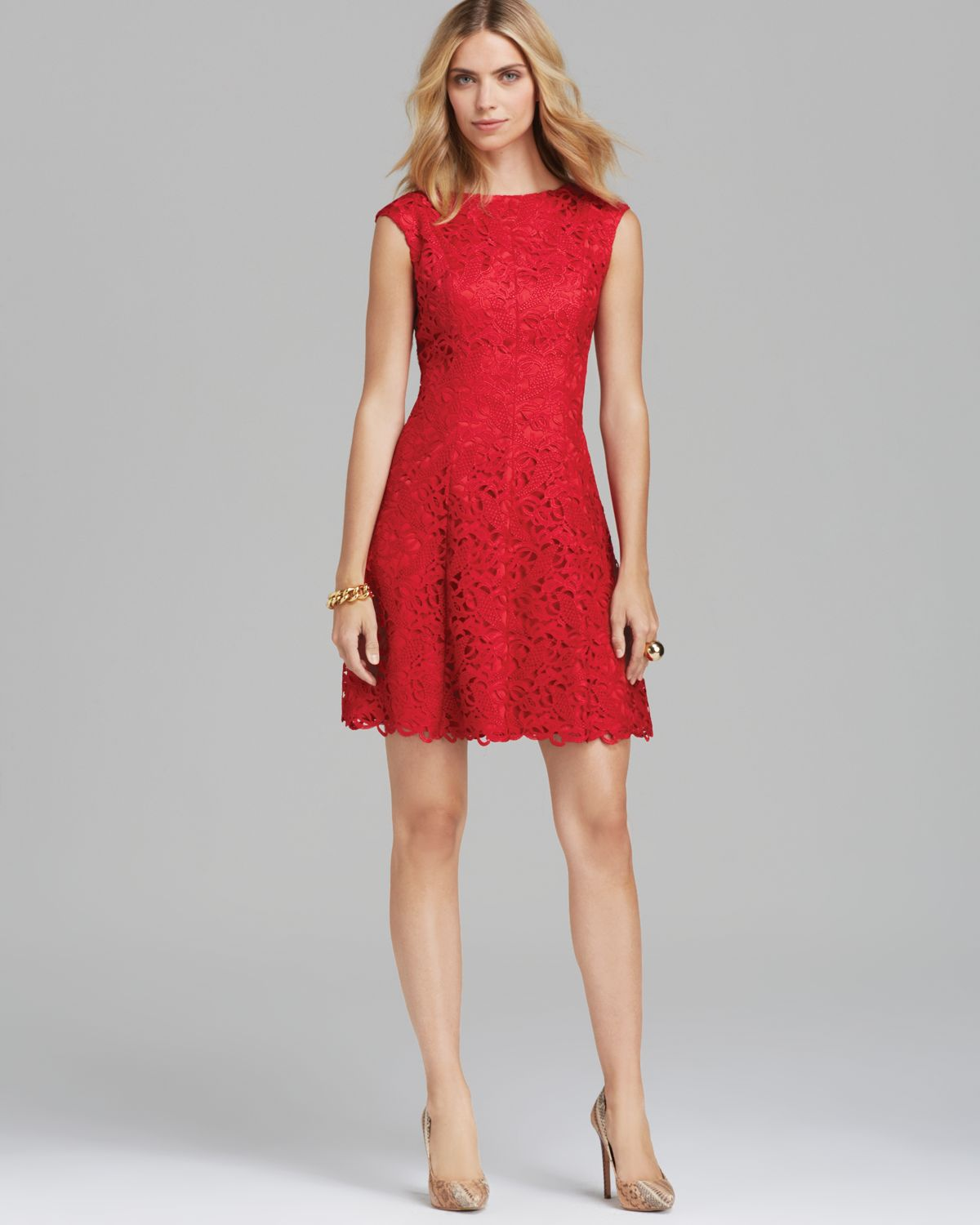 Adrianna Papell Short Lace Fit And Flare Dress In Red Lyst