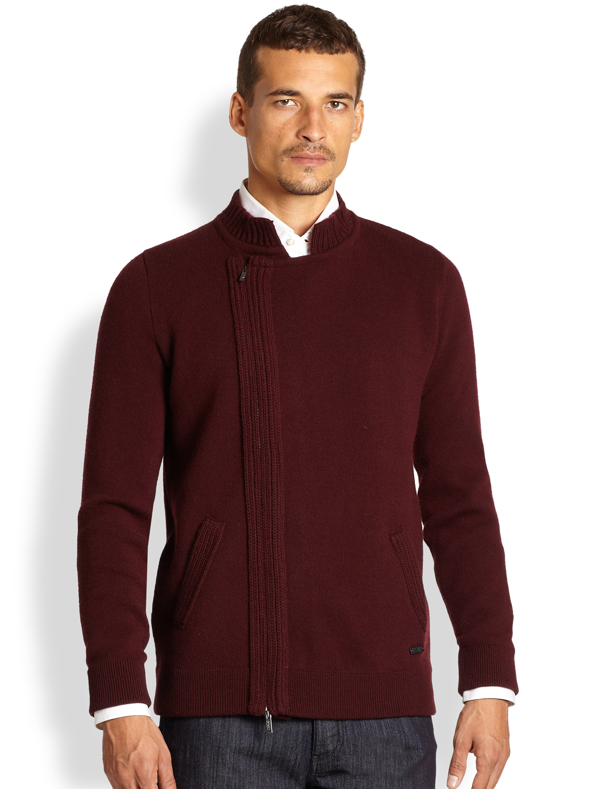 Armani Wool Sweater Jacket in Purple for Men | Lyst