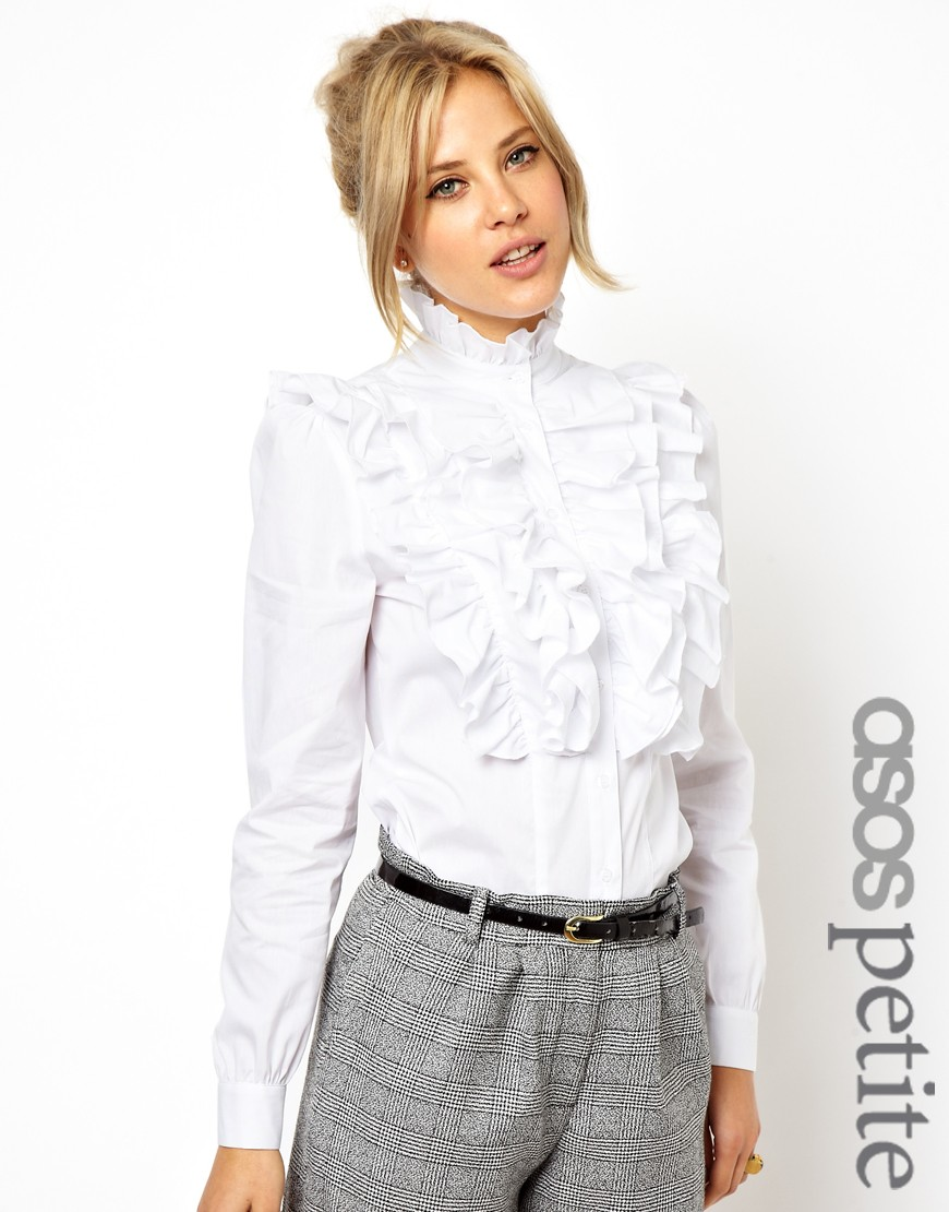 Asos Exclusive Shirt with Ruffle Front in White | Lyst