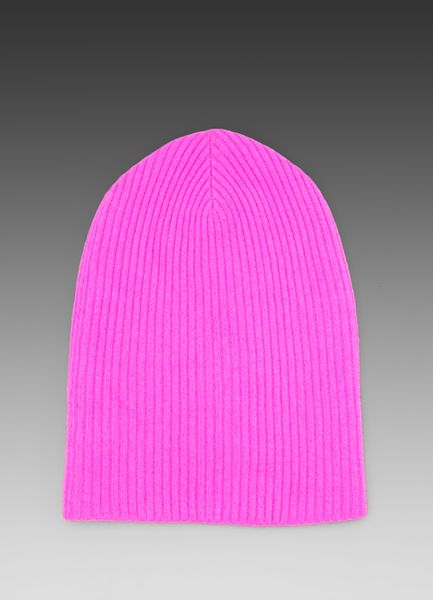 Autumn Cashmere Ribbed Bag Hat in Pink in Pink