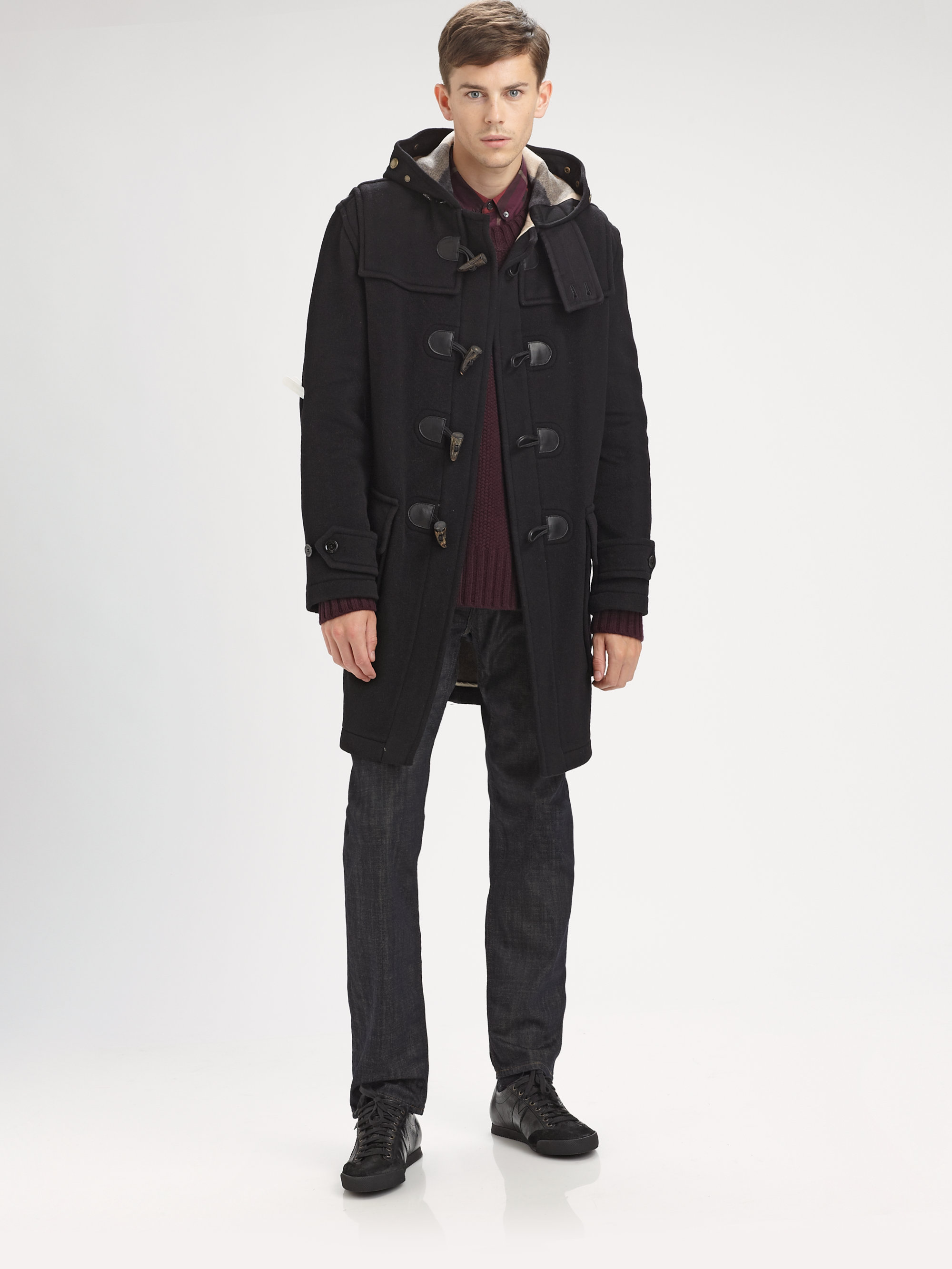 Lyst Burberry Brit Duffle Coat In Black For Men