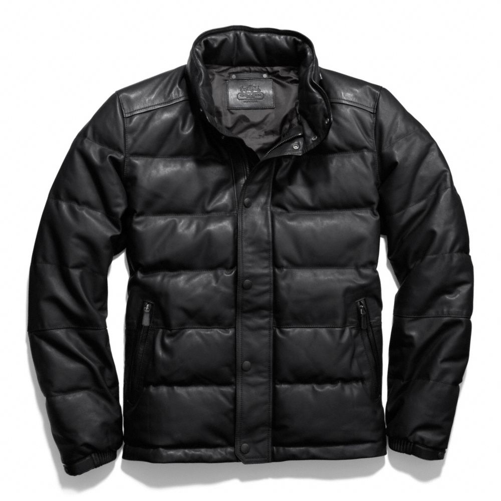 Coach Clarkson Leather Down Jacket in Black for Men | Lyst