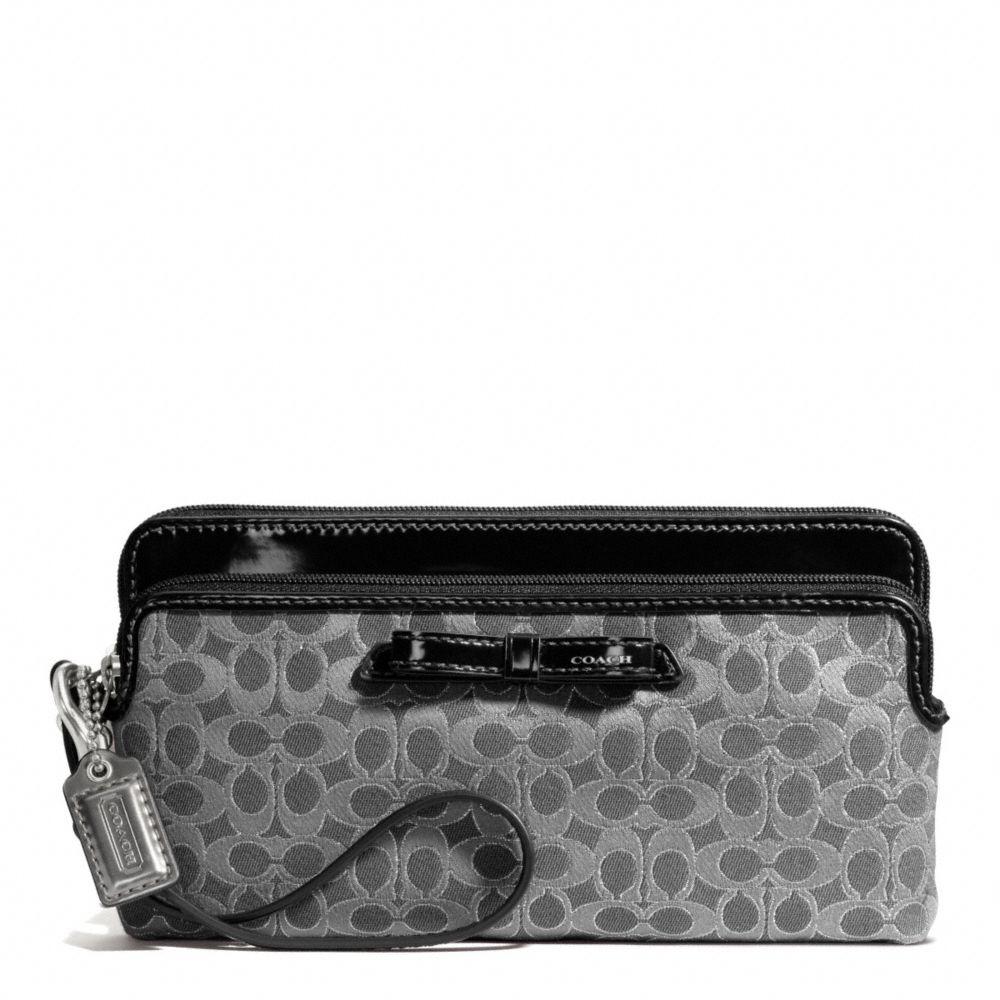 ... handbag signature small tote black black itemf25051 b9c4b 861c0  uk coach  poppy double zip wallet in signature metallic outline fabric 97dbe 6e0d8 b5052743f332c
