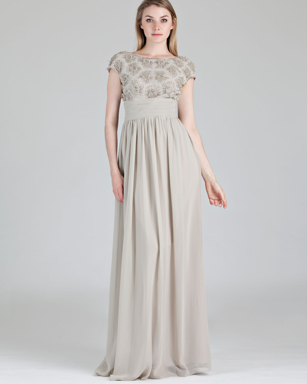 Js Collections Beaded Bodice Shirred Waist Gown - Cap Sleeve in Gray ...
